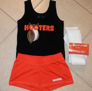 RARE Hooters orange & black set + socks hose M/L